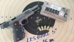 ทดสอบกระสุนซ้อมยิงขนาด .45 หัวเคลือบ ความเร็วต่ำ บุลเล็ทมาสเตอร์ WARRIOR ที่ระยะ 15 เมตร ด้วยปืน LES BARE 5