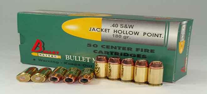 .40 S&W JACKET HOLLOW POINT. 180 gr.